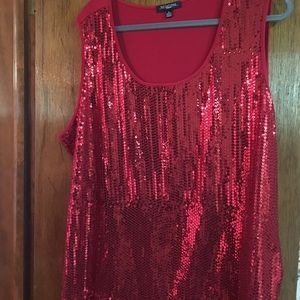 Red Sequin knit top